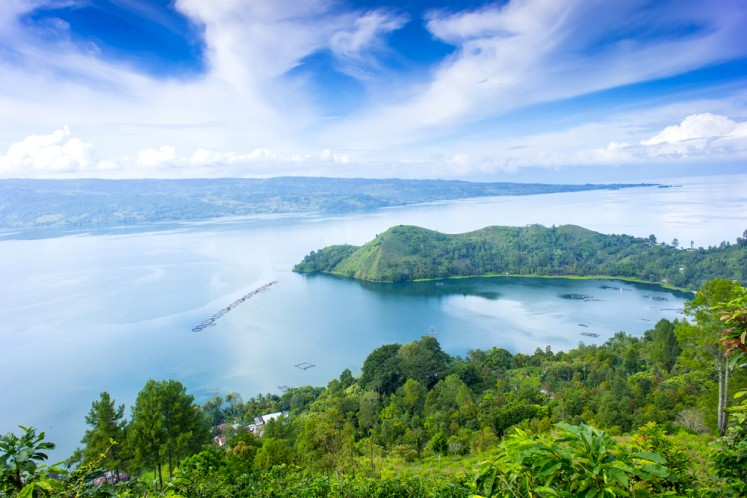 A view of Lake Toba from the highland.