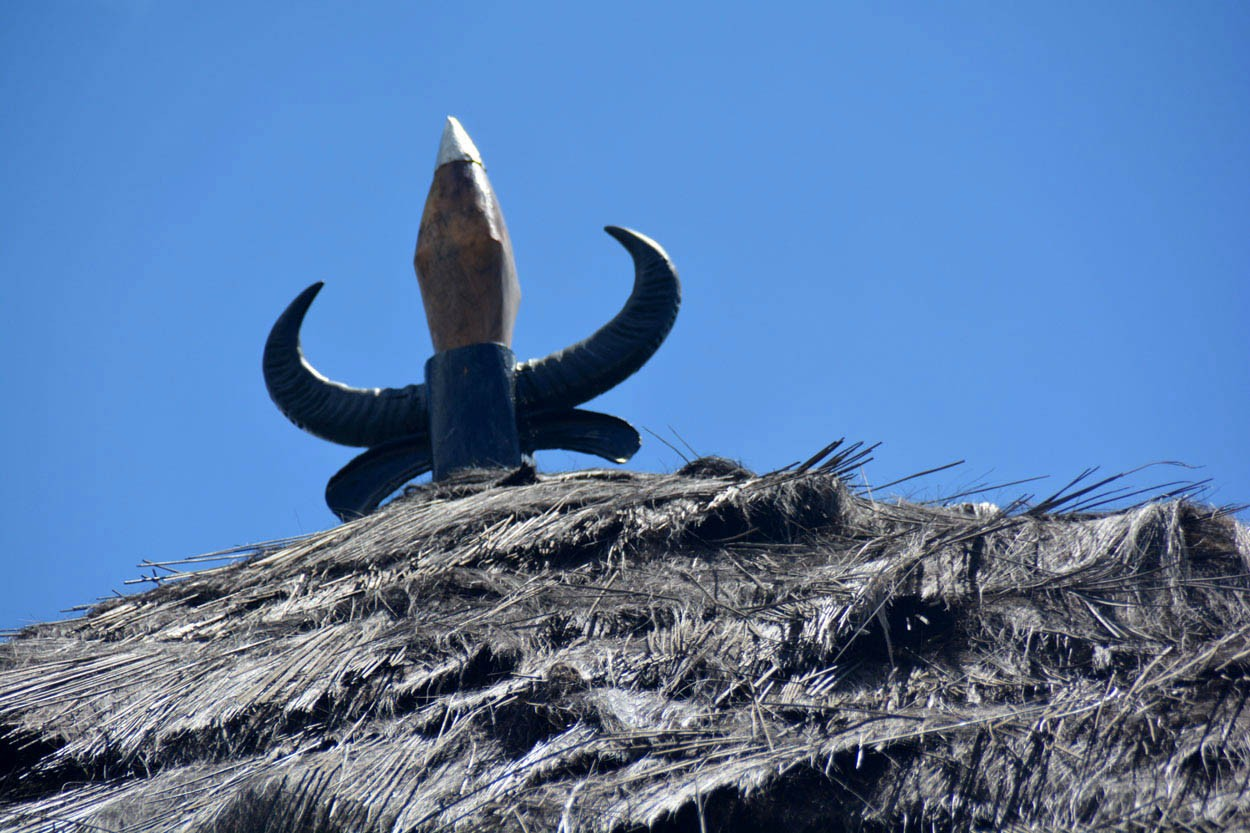 The horns of a buffalo are seen on the roof of a Mbaru Niang traditional house in Bangka Tuke village in Manggarai, East Nusa Tenggara. The Jakarta Post/ Markus Makur