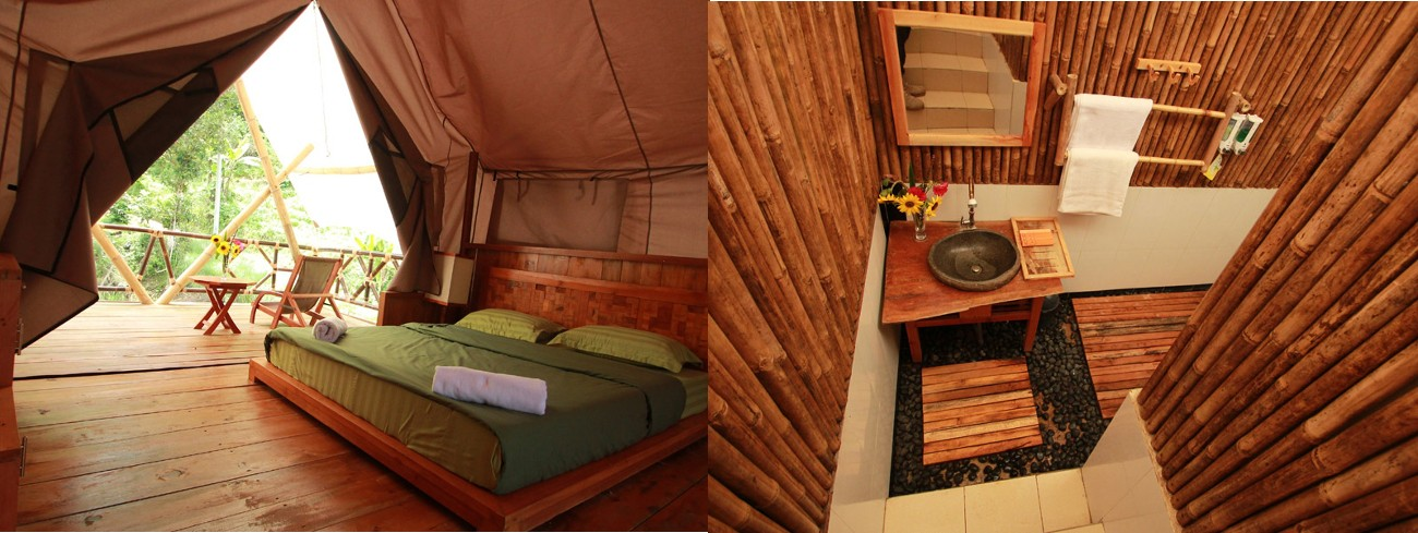 The bedroom (left) and bathroom (right) provided at the Deluxe Tent at Glamping Legok Kondang Lodge.