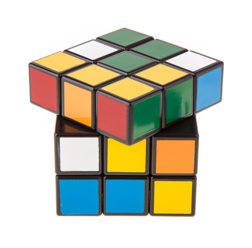Each of the six sides of a Rubik's Cube is covered in multicolored squares.