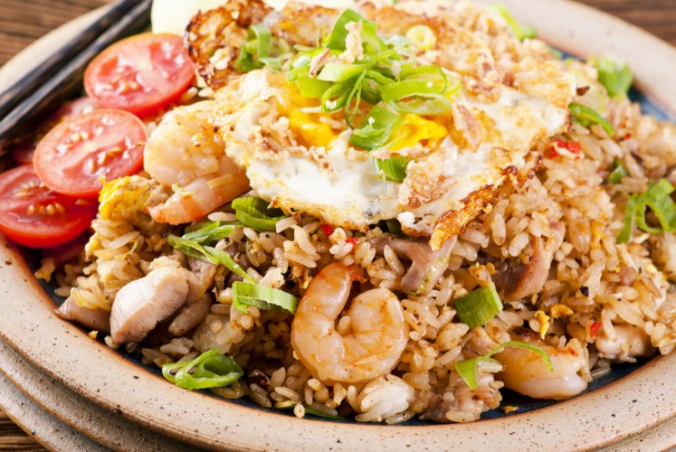 Nasi goreng (fried rice), a common street food in Indonesia.