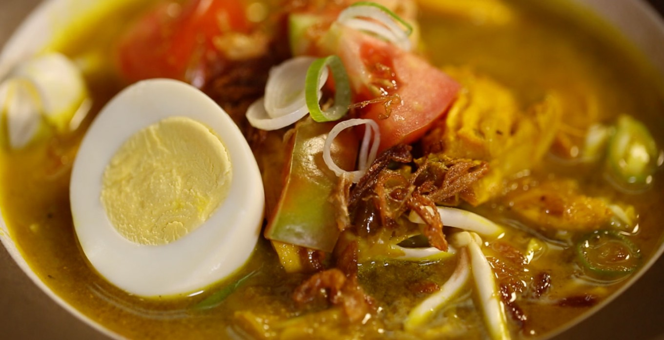 Soto Ayam (Indonesian chicken soup with noodles and aromatics)