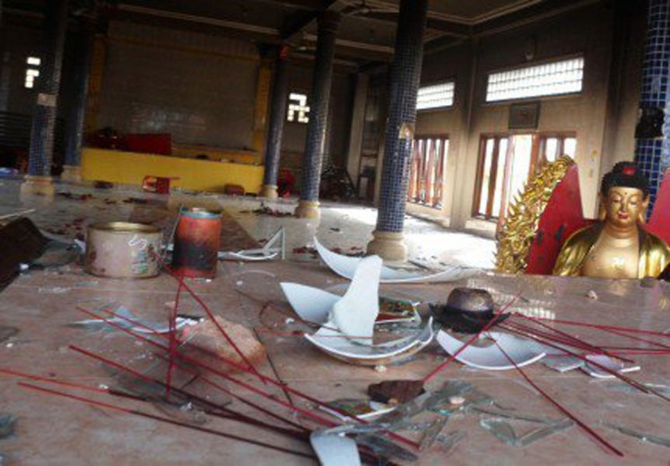 The condition of Tri Ratna vihara in Tanjung Balai, North Sumatra on July 29. The vihara was damaged after angry mobs attacked the vihara and several other Buddhist houses of worship.