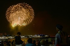 "A fireworks display themed ""Hope"" hypnotizes visitors as it lights up the sky above Yokohama Port. JP/Tarko Sudiarno"