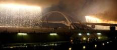 A configuration of fire curtains above Nagoya Bridge enchants spectators. JP/Tarko Sudiarno