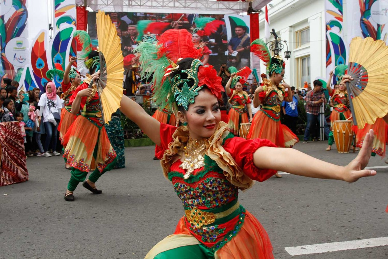 Performers dance the rampak kendang before the opening ceremony of the Asia-Africa Carnival 2016, held to mark the 61st anniversary of the Asia-Africa Conference in Bandung.