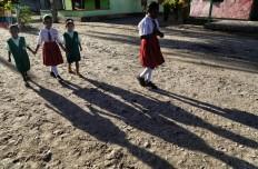 Children go to school on Namatota Island. JP/Wendra Ajistyatama