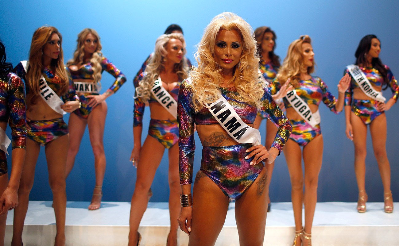 In this Sunday, Sept. 18, 2016 photo, participants performance at the Miss Trans Star International 2016 during a show celebrated in Barcelona, Spain. Twenty-eight women representing as many countries competed last weekend to be crowned  Miss Trans Star International, Europe's largest beauty pageant for transgender women and one of a growing number of similar events aimed at celebrating a population more often condemned.