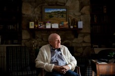 Frank Gleason, 96, a retired colonel with the Office of Strategic Services, sits for a portrait at his home in Atlanta, Wednesday, Sept. 28, 2016. Legislation to recognize the contributions of a group of World War II spies is hung up in Congress. Some 75 years ago, the OSS carried out missions behind enemy lines in Nazi Germany and the Pacific theatre. 'I would be extremely proud to get a gold medal for what we did for our country,' said Gleason, one of the few remaining veterans of the OSS, the World War II-era forerunner to the CIA. 'What we did was a little exciting.' AP Photo/David Goldman