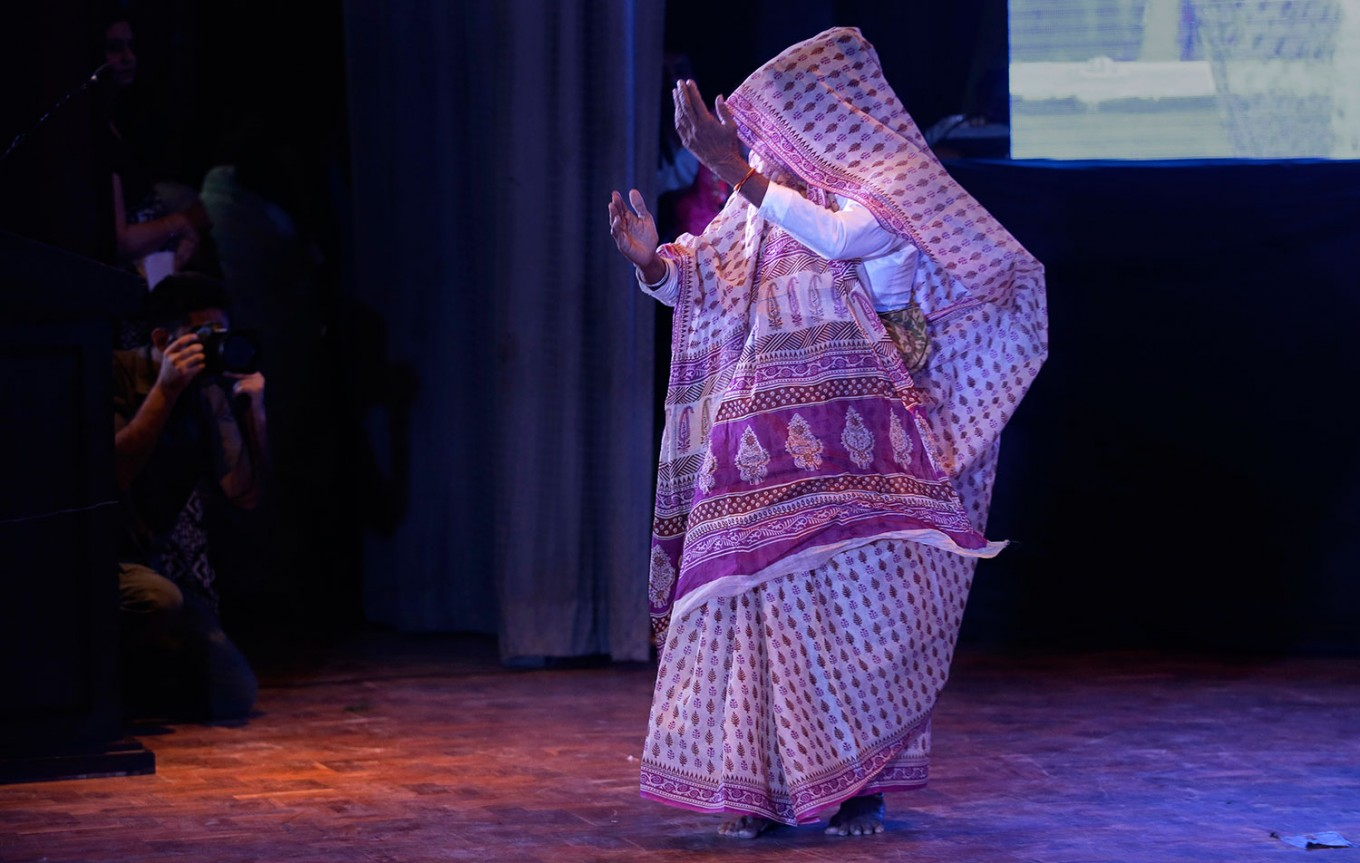 An Indian Hindu widow walks in rhythm during a fashion show in New Delhi, India, Saturday, Oct. 15, 2016. In most of India, millions of Hindu widows are expected to live out their days in quiet worship, dressed only in white. They are typically barred from all religious festivities because their very presence is considered inauspicious. Their lives appear to be changing for better with women's groups and Indian aid organizations taking interest in their welfare. AP Photo/Altaf Qadri