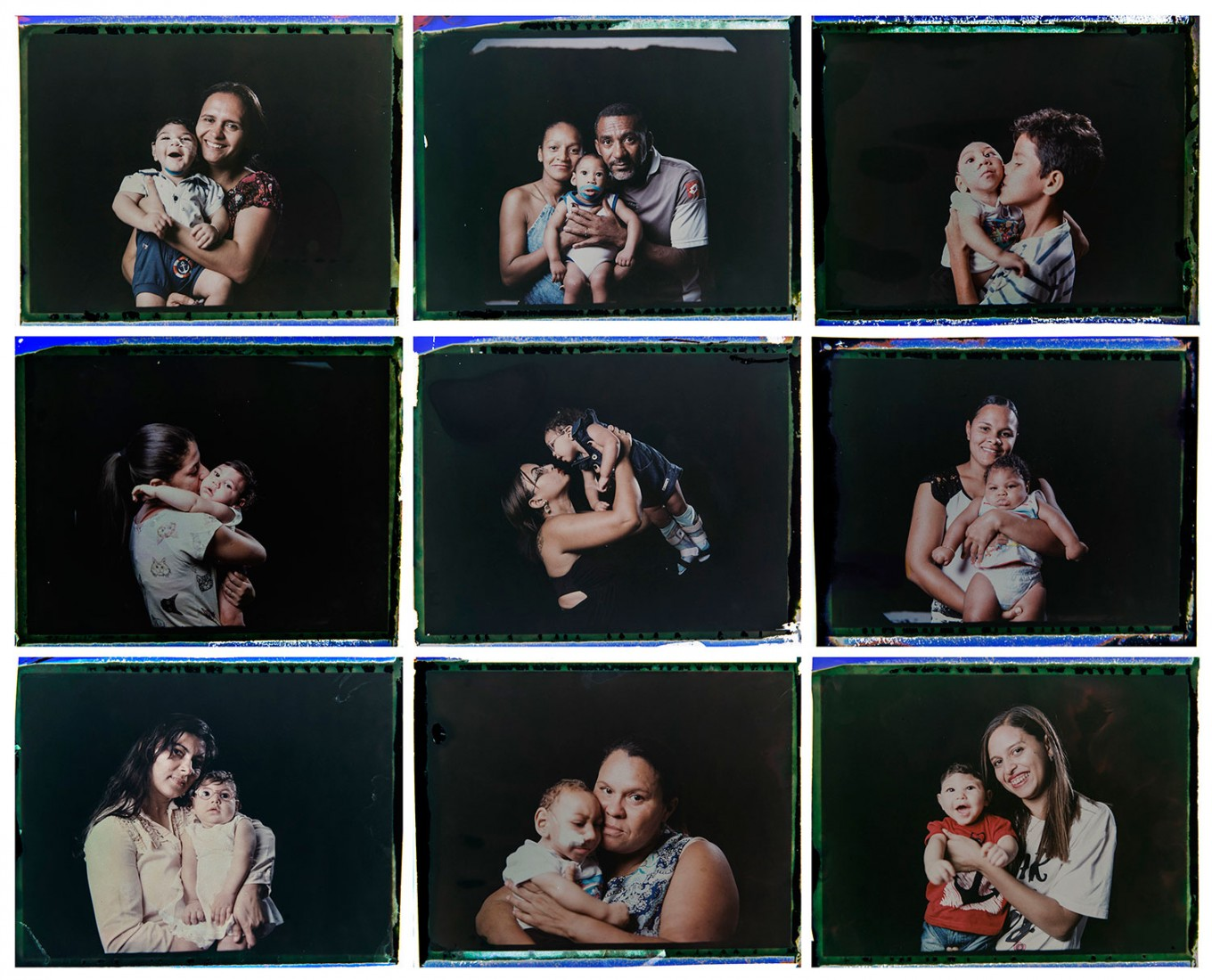 This combo of nine photos taken between Sept. 26 and 29, 2016, shows infants who were born with microcephaly, one of many serious medical problems caused by congenital Zika syndrome, photographed with their mothers or family member, in Pernambuco state, Brazil. Associated Press photographer Felipe Dana has followed these babies from hospitals to their cribs, from brain exams to bath time. Dana used an instant film so they could immediately see and keep the photographs he made of them. Dana gave the mothers the prints but preserved the negatives, later bleaching and scanning them so they mirrored the images they took home. AP Photo/Felipe Dana