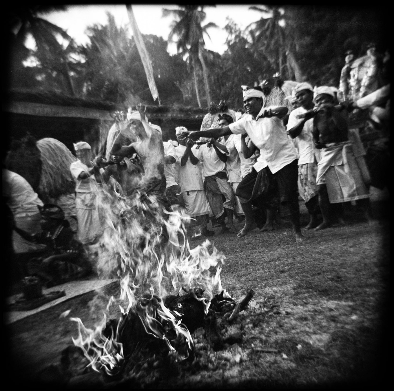 The ritual, held eight days after the Kuningan festival, celebrates the victory of dharma (virtue) over adharma (vice). Men dance in a trance during Ngusaba Kapat in Selumbung village. Every year, according to the Balinese Hindu calendar, villagers celebrate the arrival of their ancestors in the ritual; they dance, bite and stab themselves with kris while in a trance. JP/ Agung Parameswara