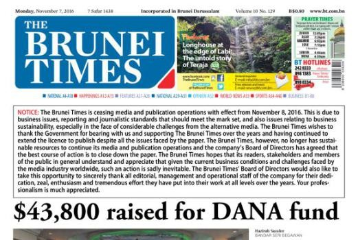 Brunei Times ceases publication, citing 'business issues'