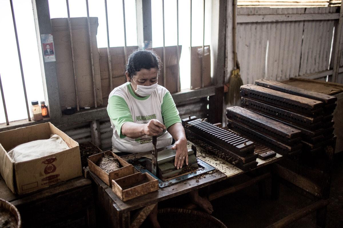 A worker cuts the ends of newly rolled cigars at the Rizona Baru cigar factory in Temanggung, Central Java. JP/Agung Parameswara