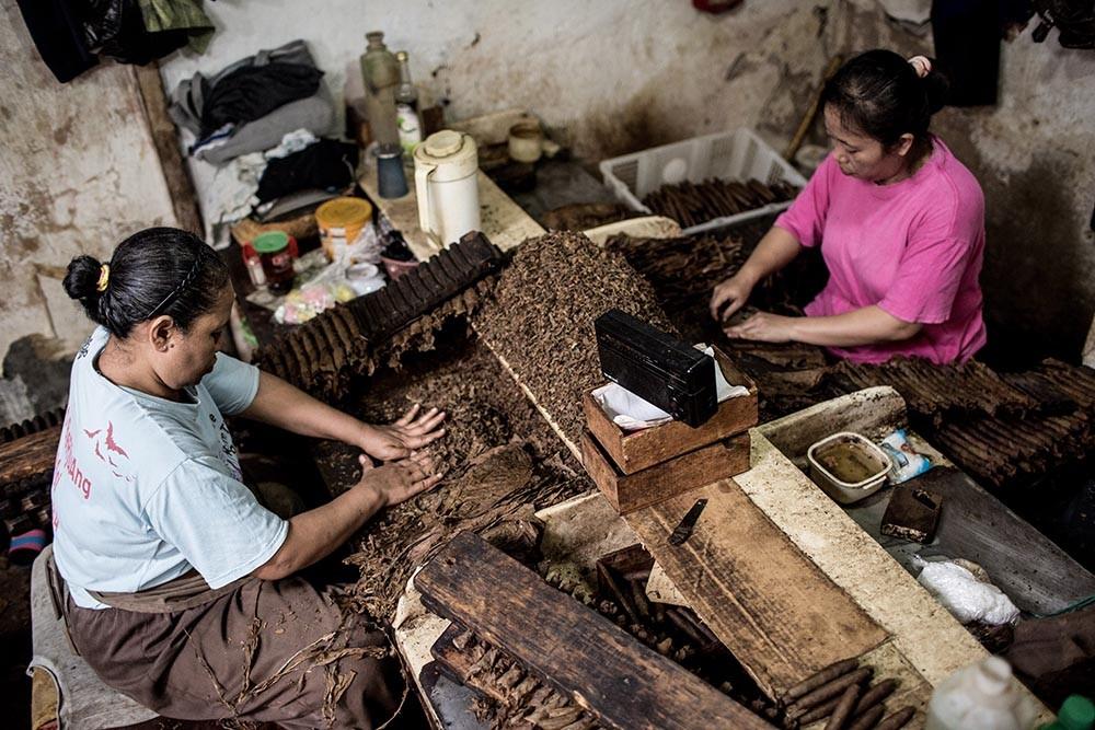 Workers prepare tobacco leaves to roll them into cigars at the Rizona Baru factory in Temanggung, Central Java. JP/Agung Parameswara