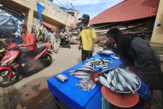 A fish monger waits for customers at the half-destroyed Meureudu Market in Pidie Jaya regency, Aceh. JP/ Dhoni Setiawan