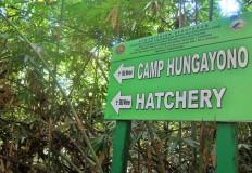 A sign directs visitors to the Hungayono conservation camp that borders the Bogani Nani Wartabone National Park in Gorontalo, northern Sulawesi. JP/ Syamsul Huda M Suhari