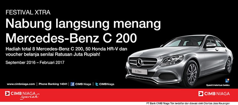 Win mercedes benz c 200 with cimb niaga savings accounts for Mercedes benz account