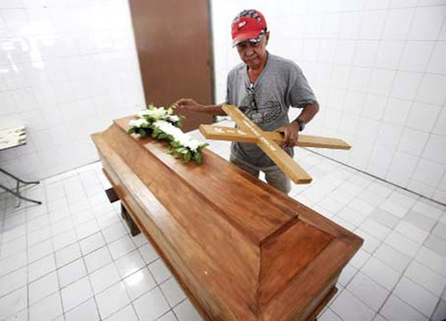 No further appeal: A coffin is arranged for Michael Titus Igweh in Jakarta on July 29. The Nigerian was among four drug convicts executed on Nusakambangan prison island.