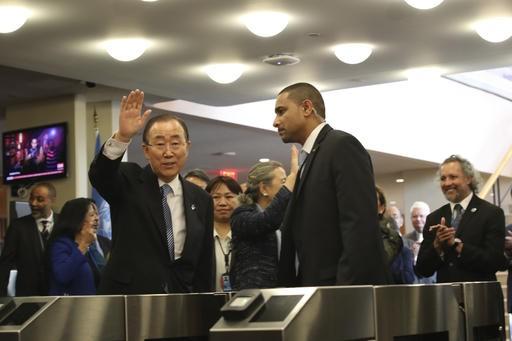 UN chief Ban Ki-moon bids colleagues, staff farewell