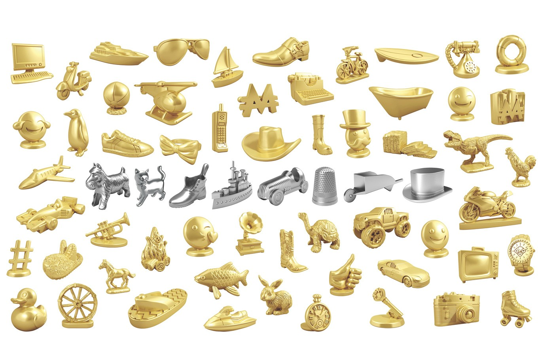 4 MONOPOLY METAL TOKENS GOLD EMOJI TOKENS