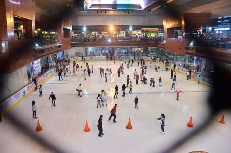 Visitors ice skate at a shopping center in Bintaro, South Tangerang, Banten.