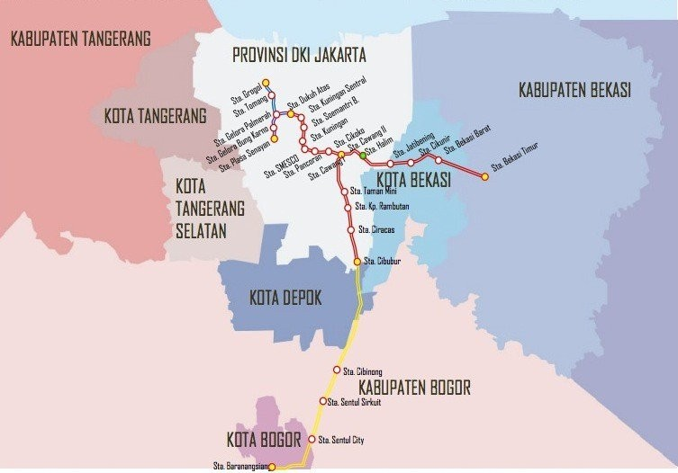 Planned routes of the light rail transit (LRT) system being built by state-owned contractor PT Adhi Karya and the central government. (Courtesty of PT Adhi Karya/File/File)