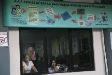 Two prisoners watch election activities from the window at the Pondok Bambu Women's Penitentiary in East Jakarta. One hundred and fifty-seven prisoners cast their votes in the Jakarta gubernatorial election at the prison on Wednesday, Feb. 15, 2017. JP/Wendra Ajistyatama