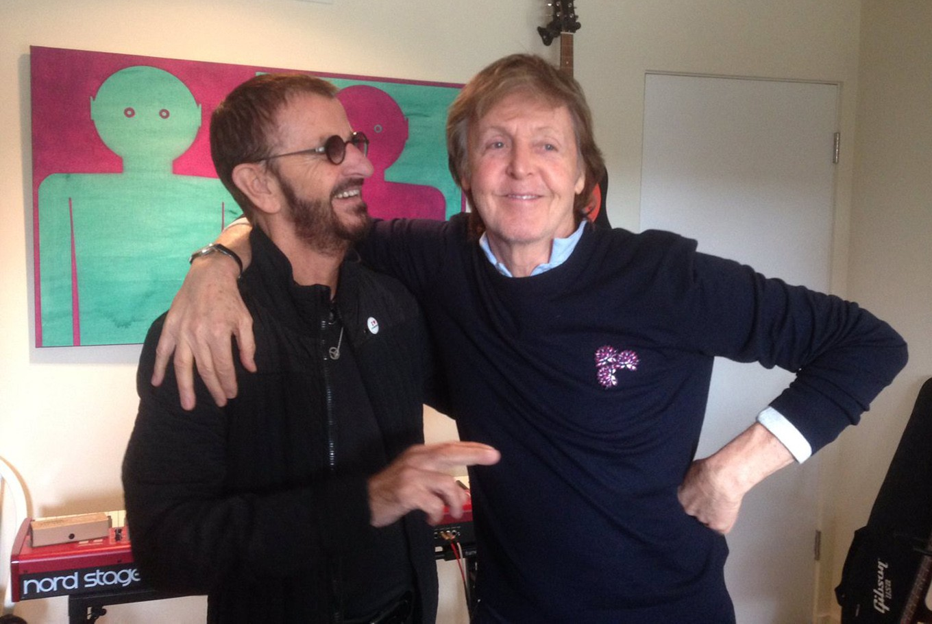 Singer Paul McCartney Reunites With Fellow Beatle Ringo Starr In The Studio