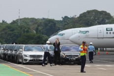 Rows of Mercedes-Benz sedans are readied at Halim Perdanakusuma Airport to be used by King Salman bin Abdulaziz Al Saud and his entourage. JP/Dhoni Setiawan