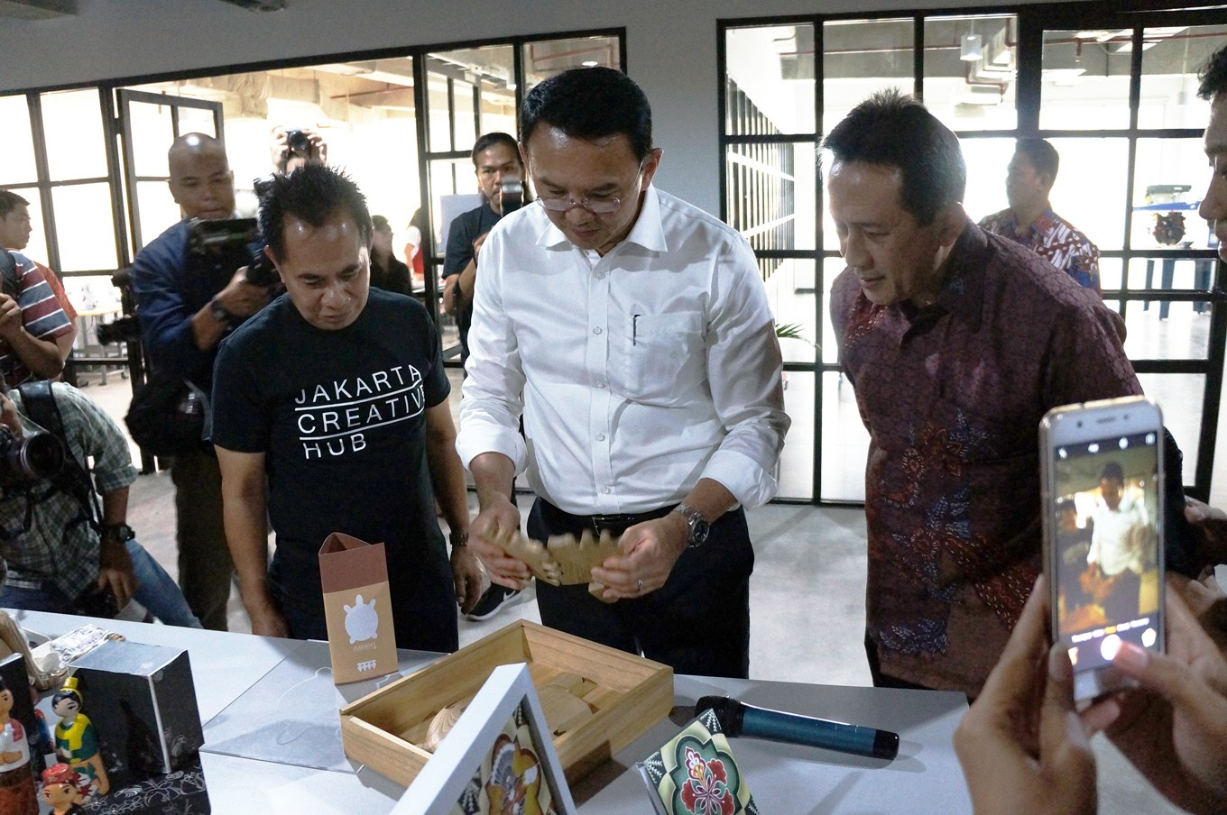 "Jakarta Micro, Small and Medium Enterprises Agency (UMKM) head Irwandi (left), Jakarta Governor Basuki ""Ahok"" Tjahaja Purnama and Creative Economy Agency (Bekraf) head Triawan Munaf at the opening of the Jakarta Creative Hub, Central Jakarta, on March 1."
