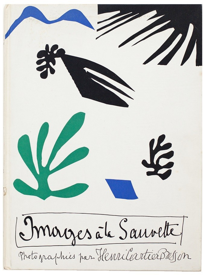 Cover of orginal edition of Images a la Sauvette (Images on the Run) 1952, with a cut-out image of artwork by Henri Matisse.
