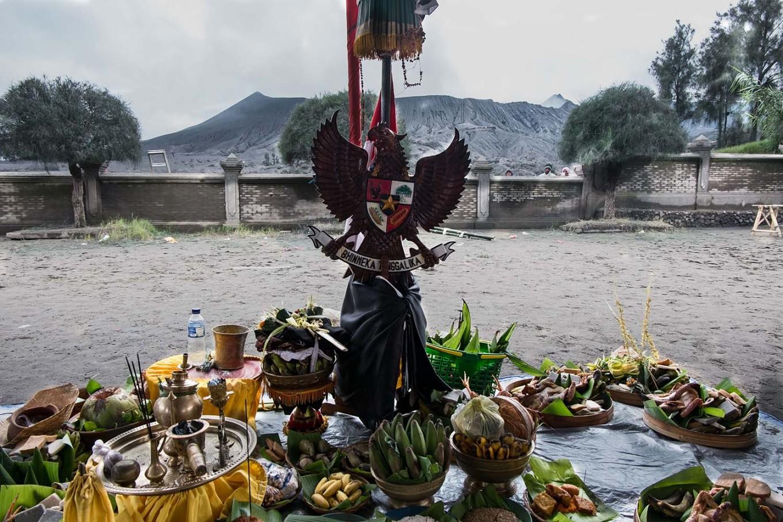 Indonesia's national emblem, Garuda Pancasila, is hung at an offering altar. JP/Tarko Sudiarno