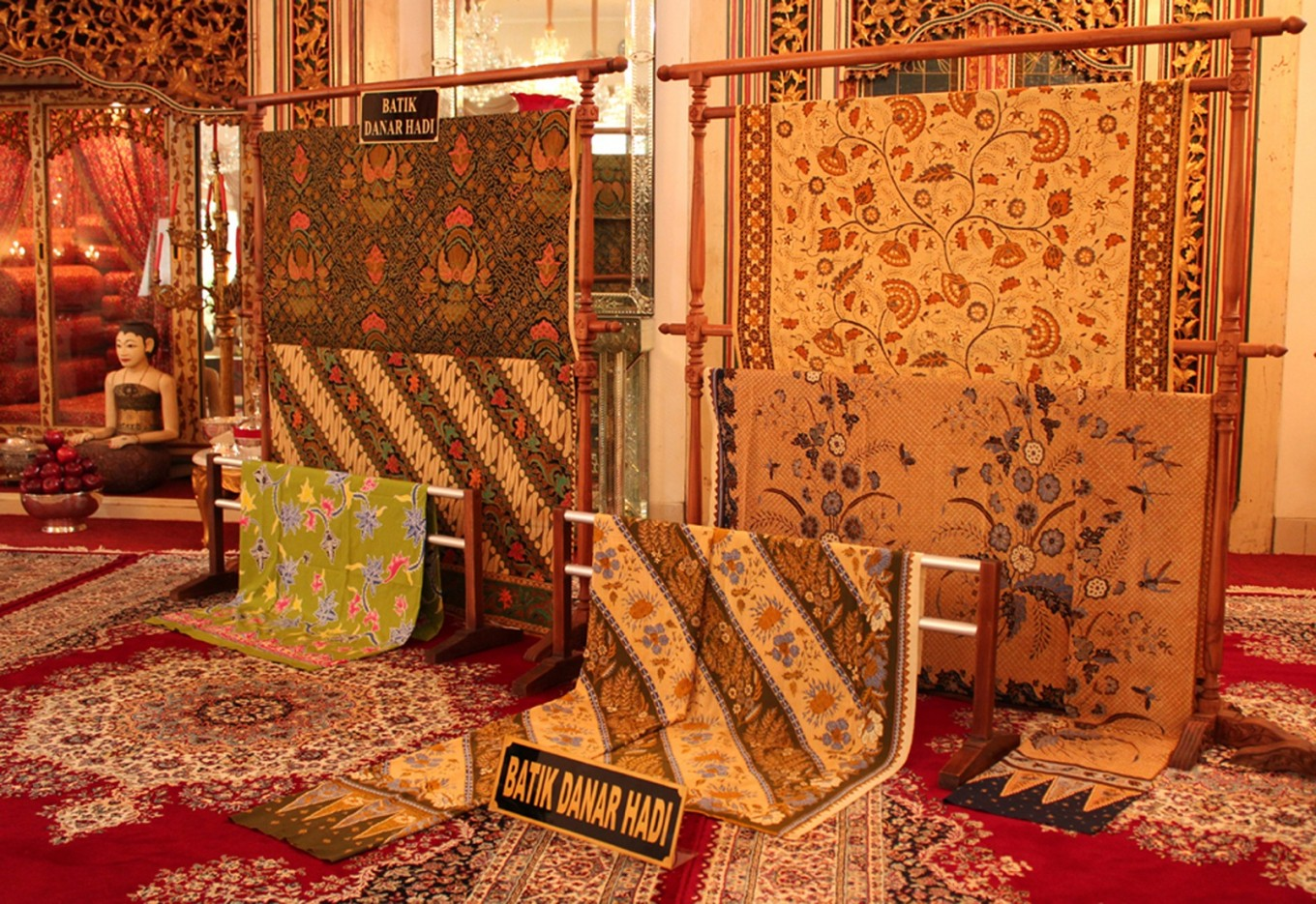 A vast number of old batik fabrics can be found at Danar Hadi's Dalem Wuryaningratan museum on Jl. Slamet Riyadi, Surakarta, Central Java.