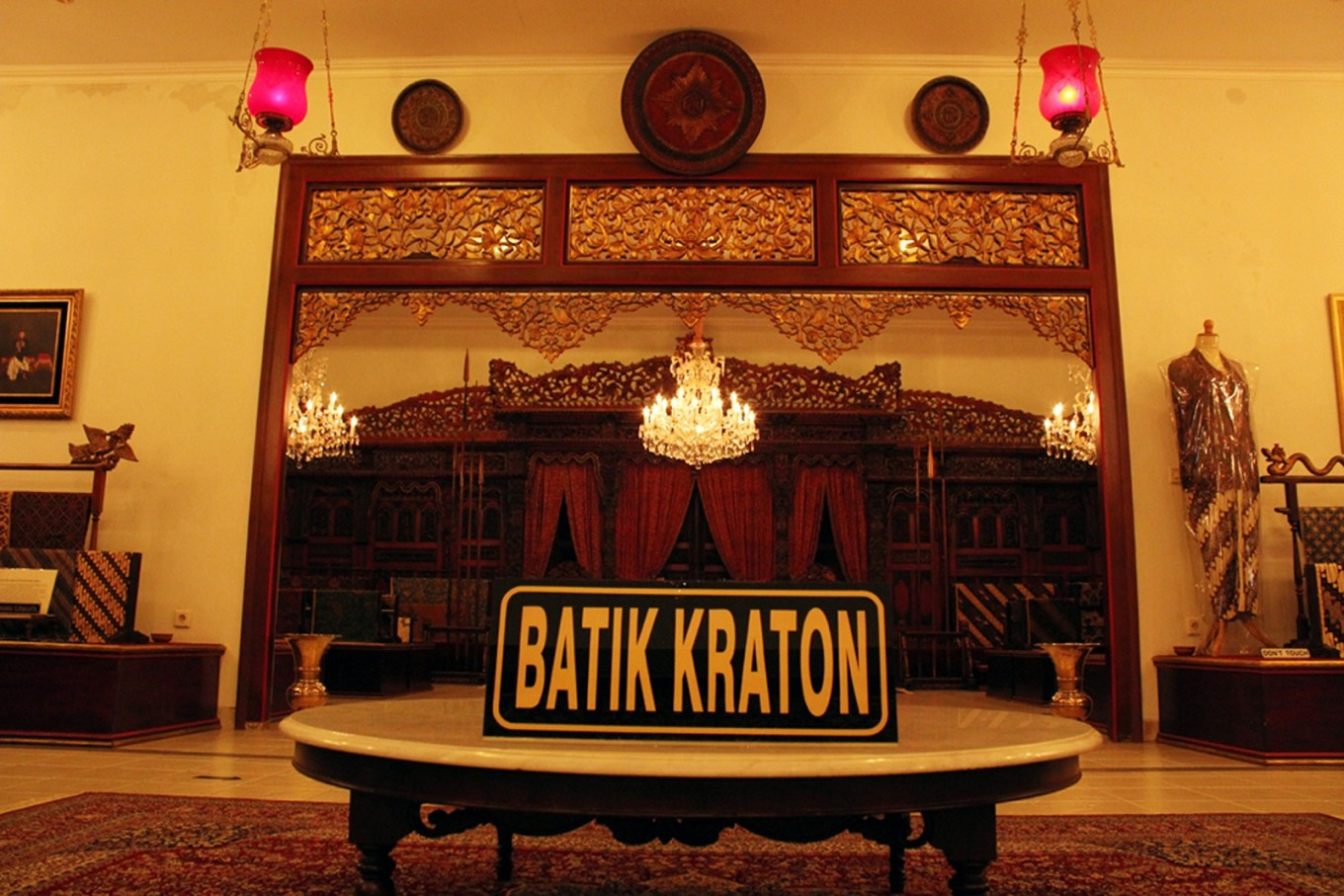 The collection of Batik Kraton (palace batik) at the Dalem Wuryaningratan Museum.