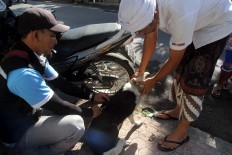 An official from the Bali Husbandry Agency is assisted by a resident when vaccinating a dog. JP/ Zul Trio Anggono