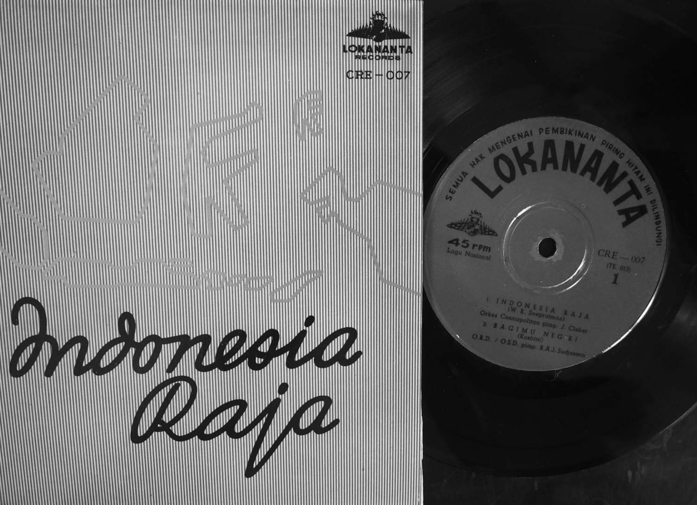 "An original vinyl record of the national anthem ""Indonesia Raya"" is seen on display. The record was produced by Lokananta, Indonesia's oldest recording company. JP/Ganug Nugroho Adi"