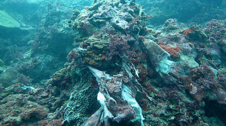 Polluted: Plastic trash and non-organic waste cover coral in Nusa Dua waters, Bali, threatening the marine ecosystem in the area.