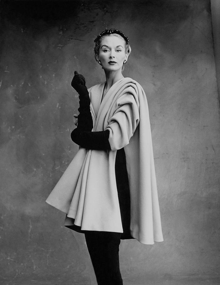 Lisa Fonssagrives-Penn wearing a coat by Cristobal Balenciaga, 1950.