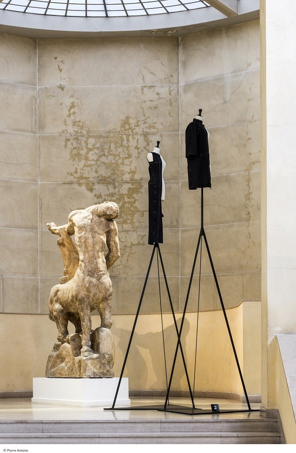 Half-canvases reconstructed in Balenciaga Archives, according to flat originals in archives, shown next to a sculpture in Musee Bourdelle, Paris.