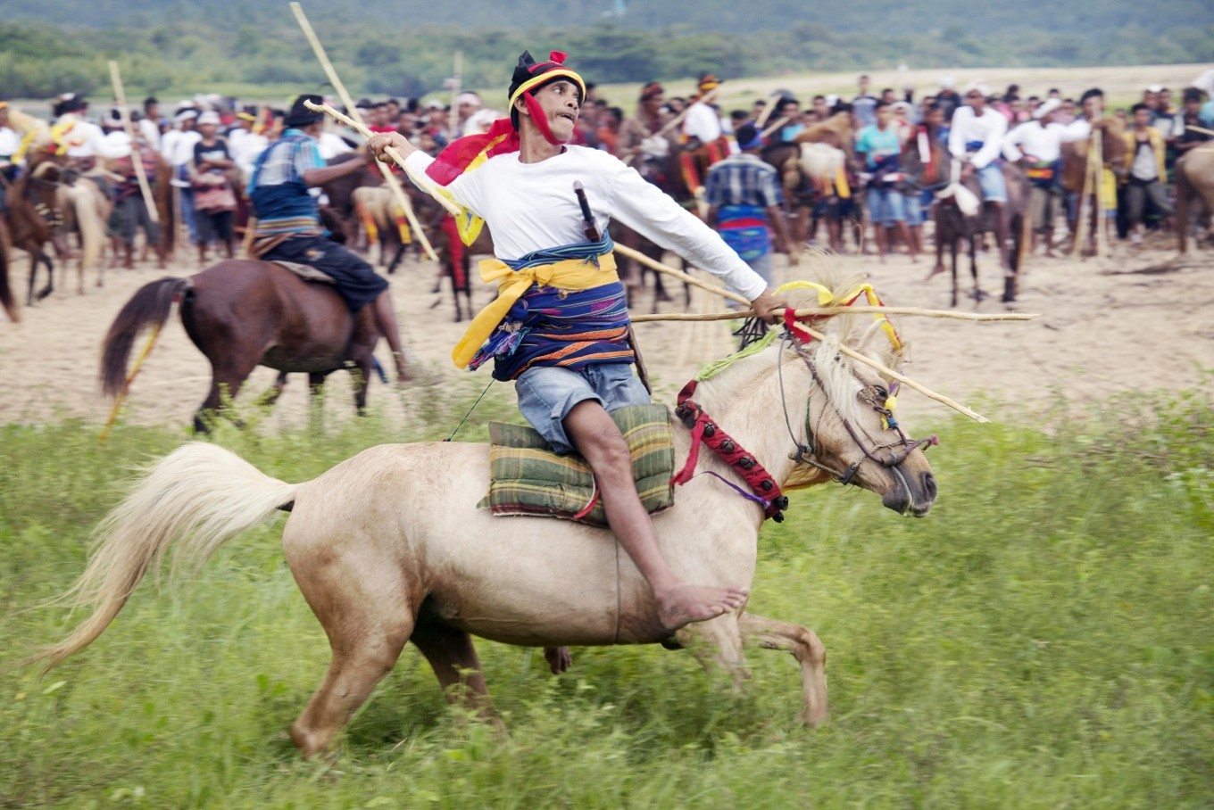 Acquired skills: Horse-riding skill is a must during the Pasola ritual.