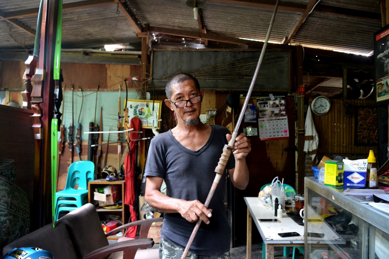 Until today, he keeps his father's bow and arrows from the memorable day back in 1948 when he won gold at the first National Games (PON) in Surakarta