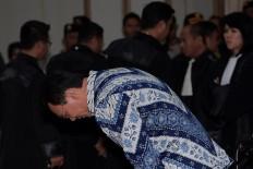 "Incumbent Jakarta Governor Basuki ""Ahok"" Tjahaja Purnama prepares to hear the verdict against him at the North Jakarta District Court on Tuesday. JP/Sigid Kurniawan/Pool"