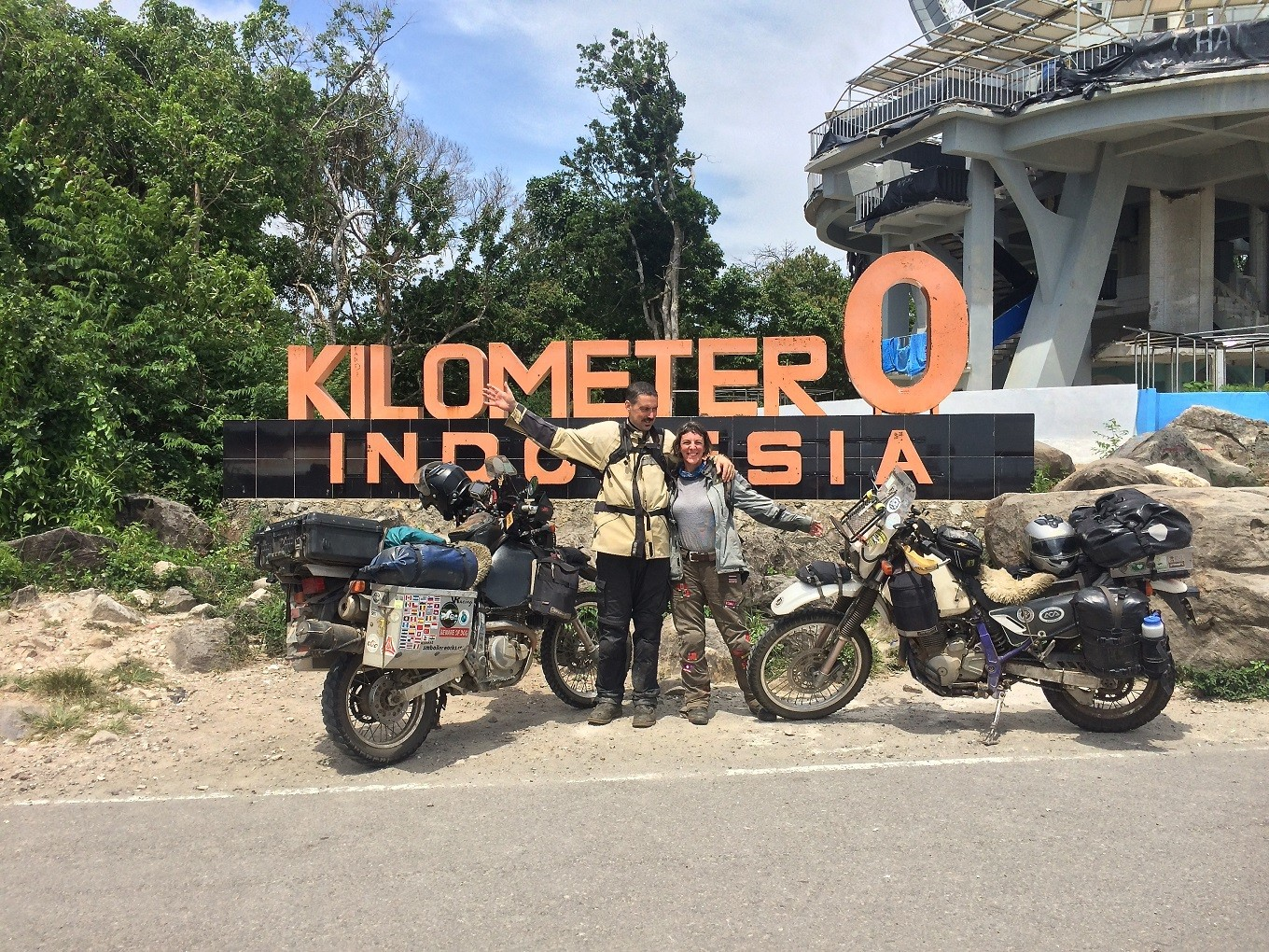 US couple visit Indonesia after traveling to 41 countries by motorcycle