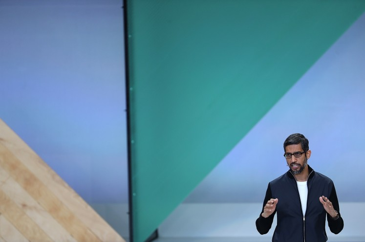 Google CEO Sundar Pichai delivers the keynote address at the Google I/O 2017 Conference at Shoreline Amphitheater on May 17, 2017 in Mountain View, California. The three-day conference will highlight innovations including Google Assistant.