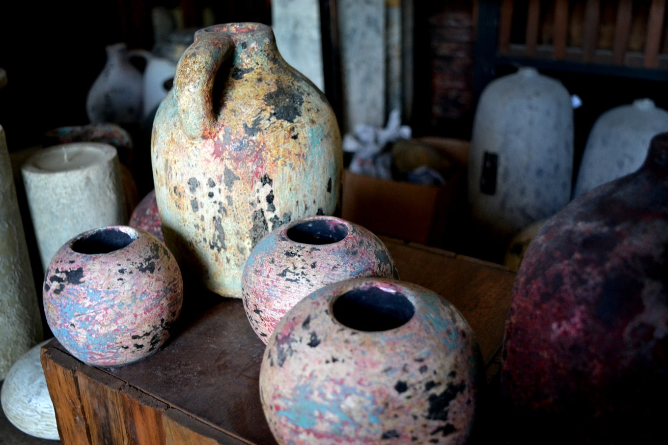 Agus Imron's rustic-style pottery is especially popular among European customers.