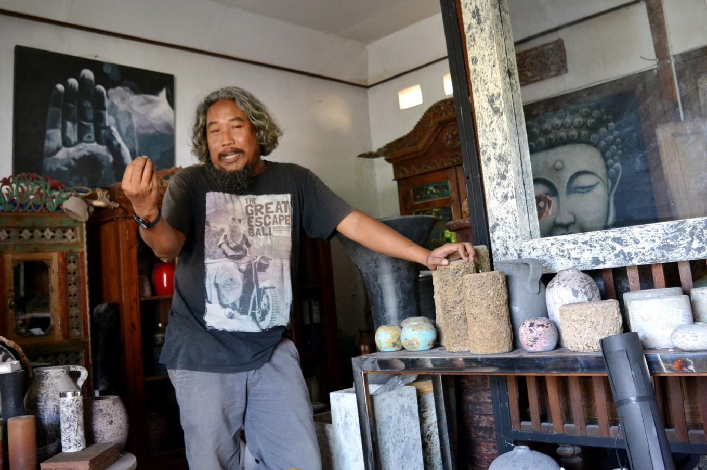 Agus Imron in his gallery in Semail village, Bantul, Yogyakarta.