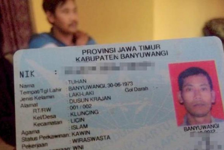 Tuhan's name caught the attention after his identification card's photo went viral.