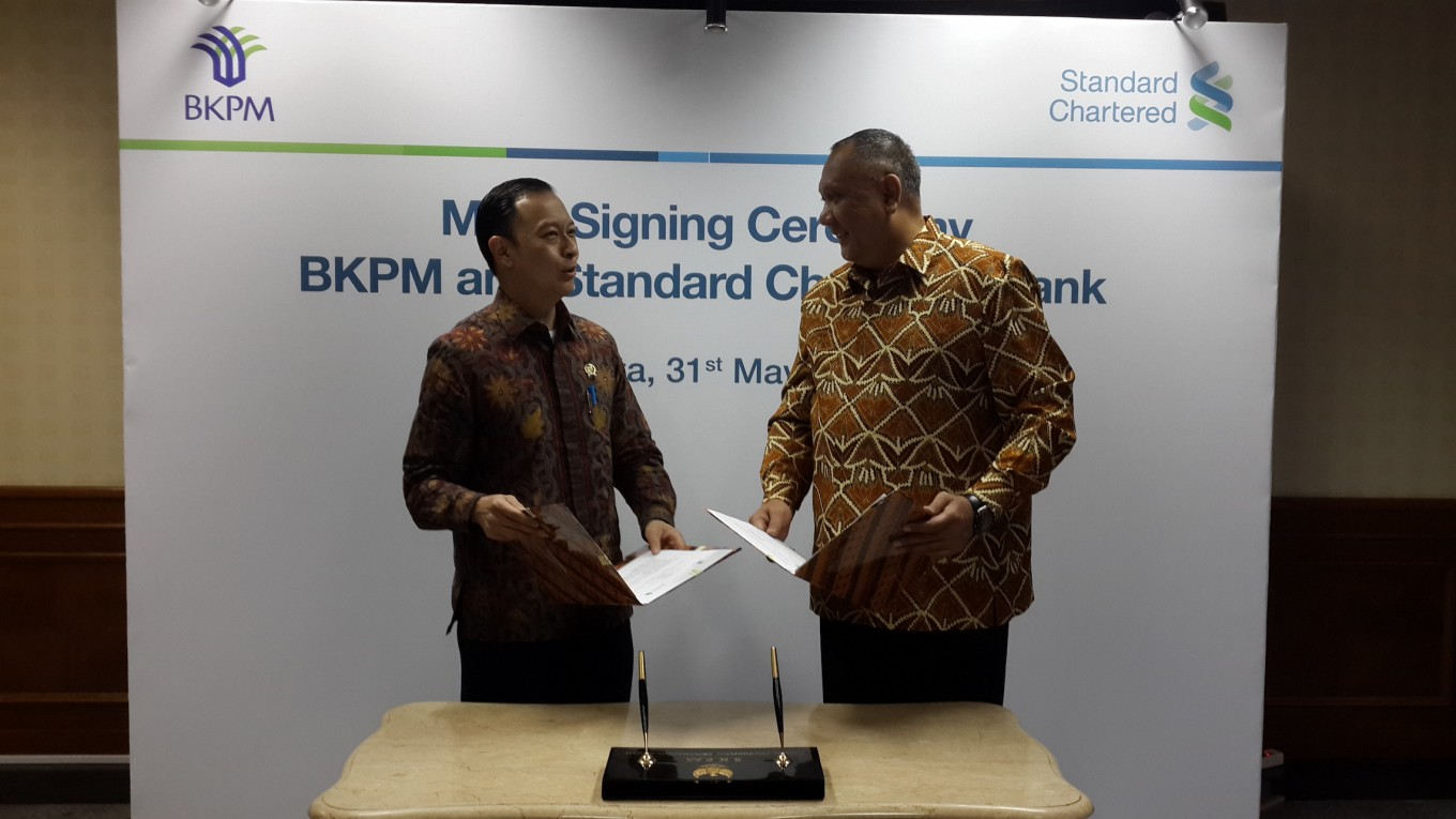 BKPM, Standard Chartered ink MoU to attract more investors, clients