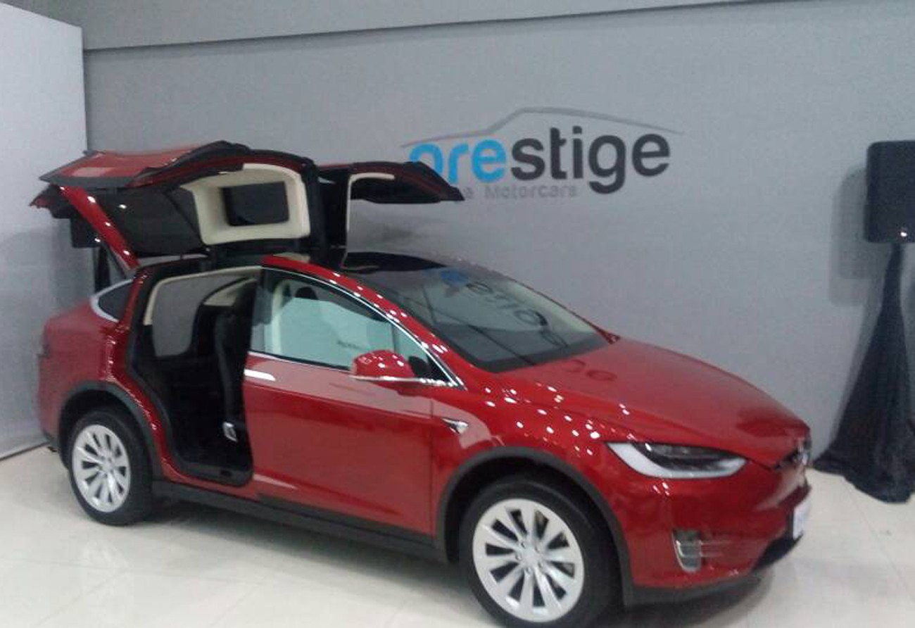 A US-made Tesla Model X electronic luxury car is being showcased at Prestige Image Motorcars' showroom in Pluit, North Jakarta, from June 7. | The Jakarta Post